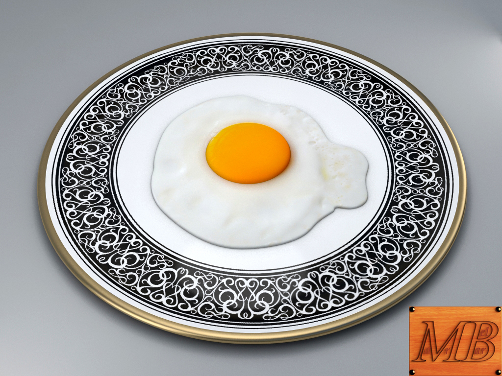 fried egg dish 3d model 3ds max fbx c4d dae obj 156248