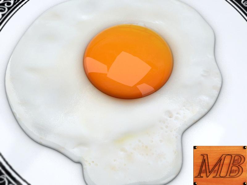 fried egg dish 3d model 3ds max fbx c4d dae obj 156250