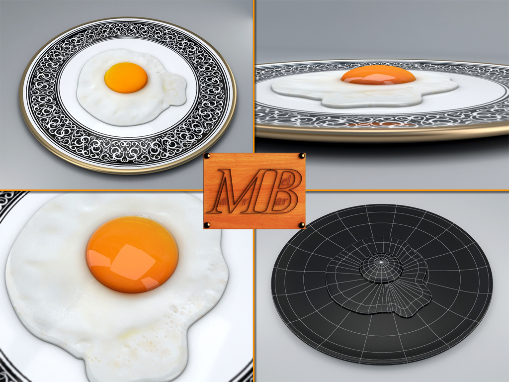 fried egg dish 3d model 3ds max fbx c4d dae obj 156252