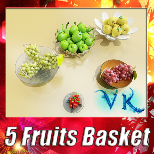 fruit in bowls collection 3d model 3ds max fbx obj 133941