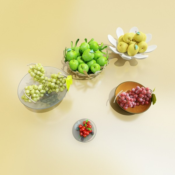fruit in bowls collection 3d model 3ds max fbx obj 133942