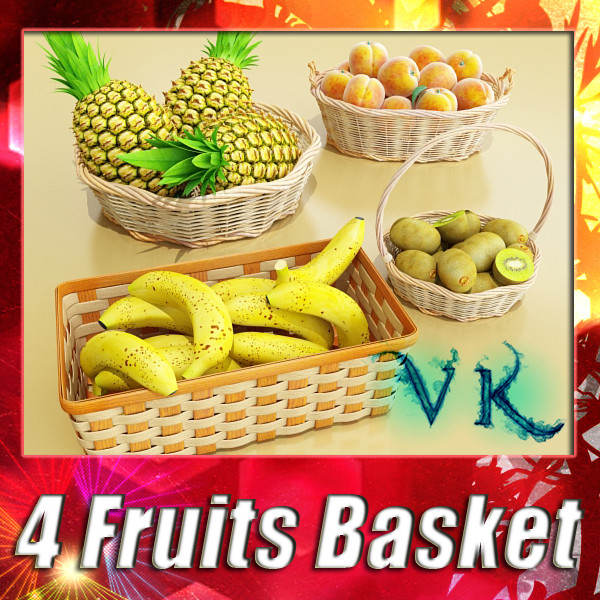 fruits & basket collection 3d model 3ds max fbx obj 133764
