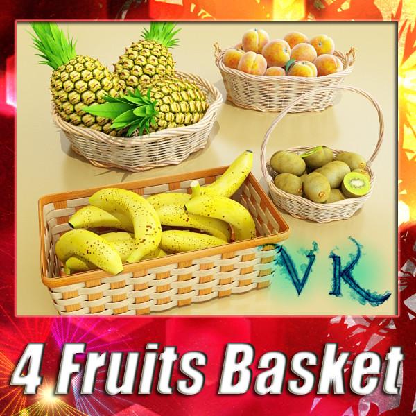kolekcja owoców i koszy 3d model 3ds max fbx obj 133764
