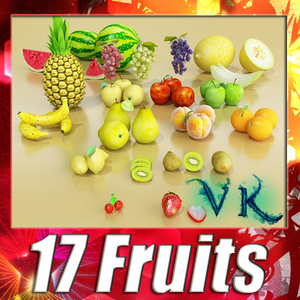 fruits collection high res textures 17 3d model 3ds max fbx obj 133230