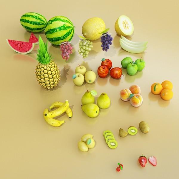 fruits collection high res textures 17 3d model 3ds max fbx obj 133231