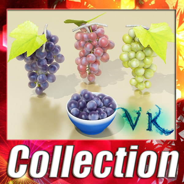 grapes collection high detailed 3d model 3ds max fbx obj 134025