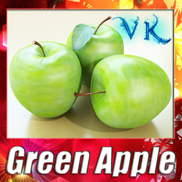 green apple high detailed 3d model 3ds max fbx obj 132697