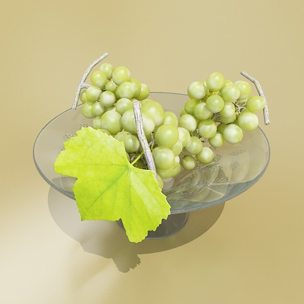 green grapes in glass bowl 3d model 3ds max fbx obj 133035