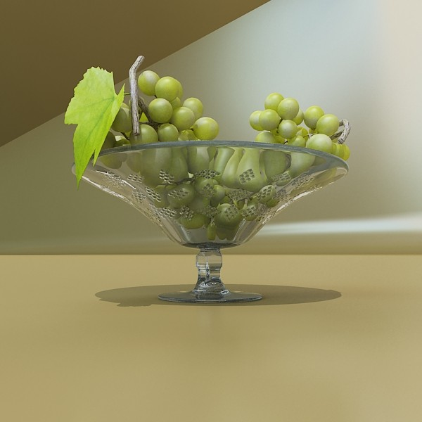 green grapes in glass bowl 3d model 3ds max fbx obj 133037
