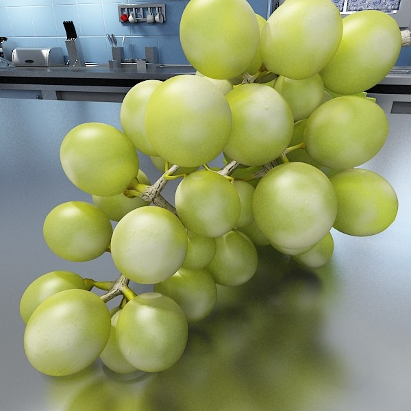 green grapes in glass bowl 3d model 3ds max fbx obj 133040