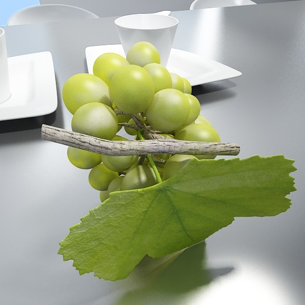green grapes in glass bowl 3d model 3ds max fbx obj 133041