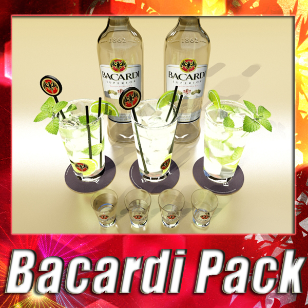 high detailed bacardi bottle, mojito and rum shot 3d model 3ds max fbx obj 138306