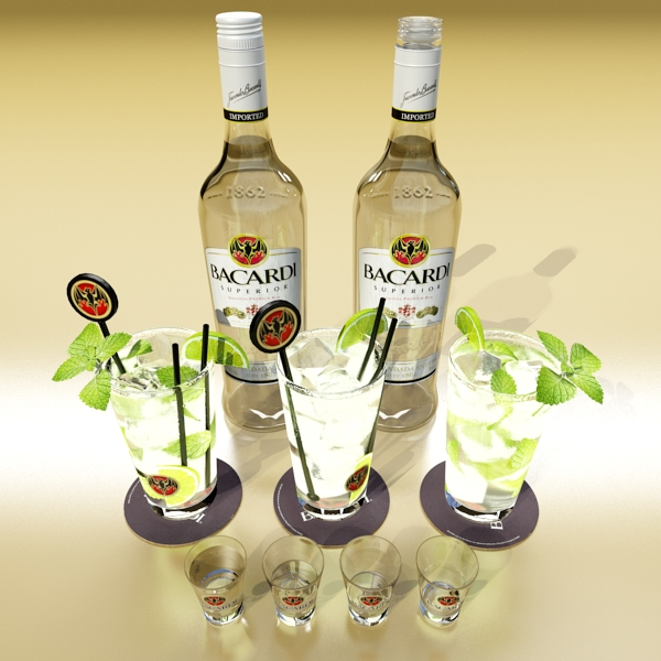 high detailed bacardi bottle, mojito and rum shot 3d model 3ds max fbx obj 138307