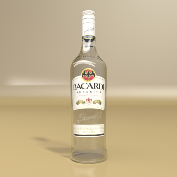 high detailed bacardi bottle, mojito and rum shot 3d model 3ds max fbx obj 138308