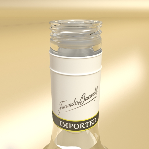 high detailed bacardi bottle, mojito and rum shot 3d model 3ds max fbx obj 138311