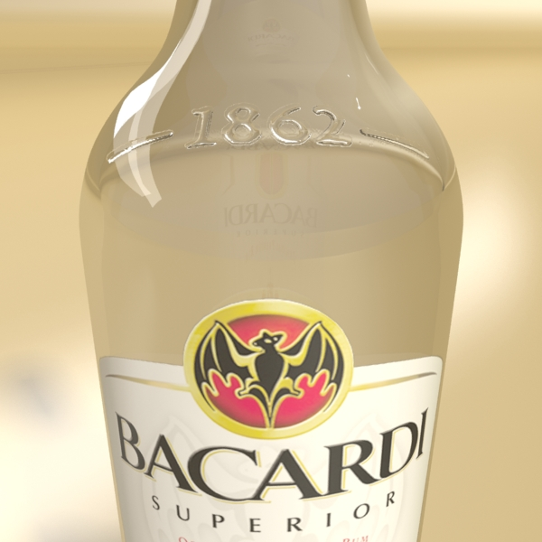 high detailed bacardi bottle, mojito and rum shot 3d model 3ds max fbx obj 138313