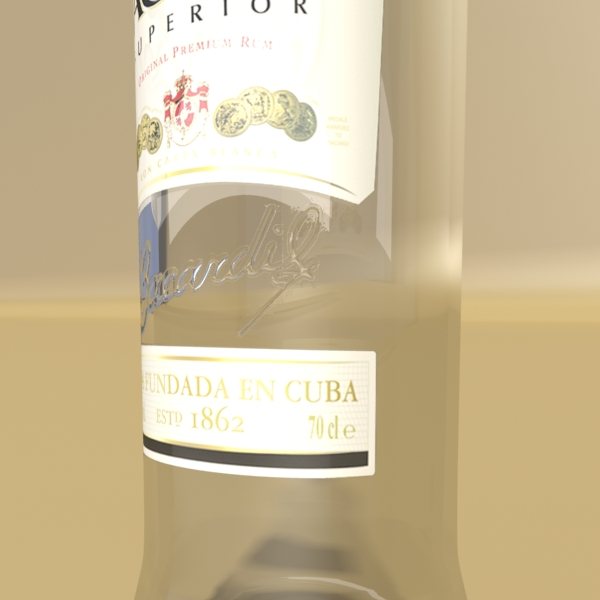 high detailed bacardi bottle, mojito and rum shot 3d model 3ds max fbx obj 138314