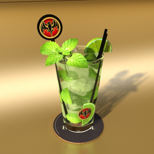 high detailed bacardi bottle, mojito and rum shot 3d model 3ds max fbx obj 138322