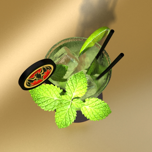 high detailed bacardi bottle, mojito and rum shot 3d model 3ds max fbx obj 138323