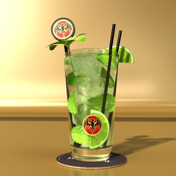 high detailed bacardi bottle, mojito and rum shot 3d model 3ds max fbx obj 138324