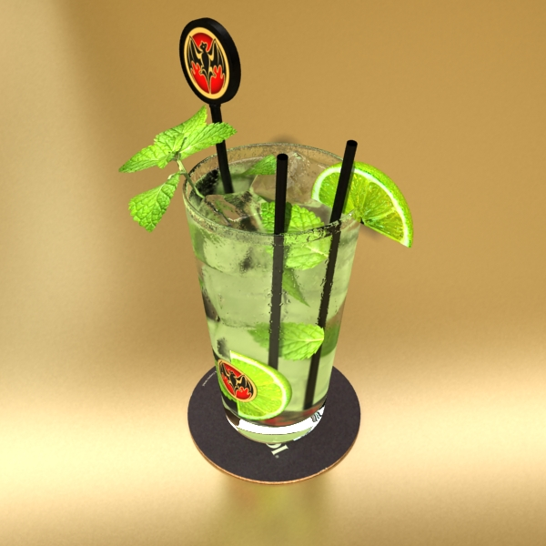 high detailed bacardi bottle, mojito and rum shot 3d model 3ds max fbx obj 138325