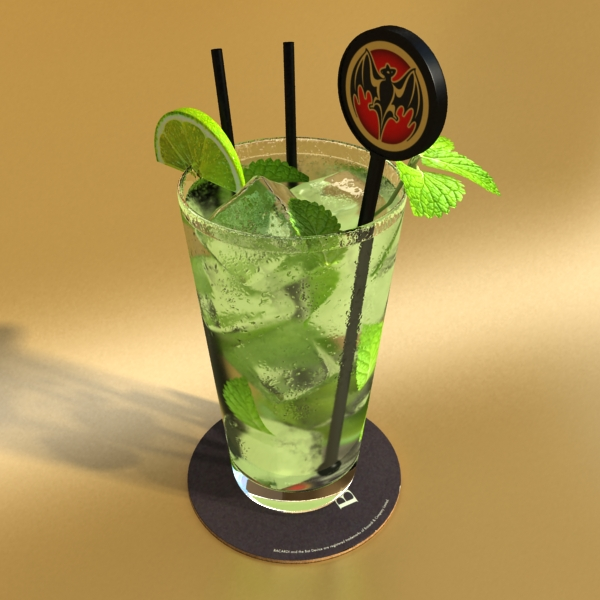 high detailed bacardi bottle, mojito and rum shot 3d model 3ds max fbx obj 138326