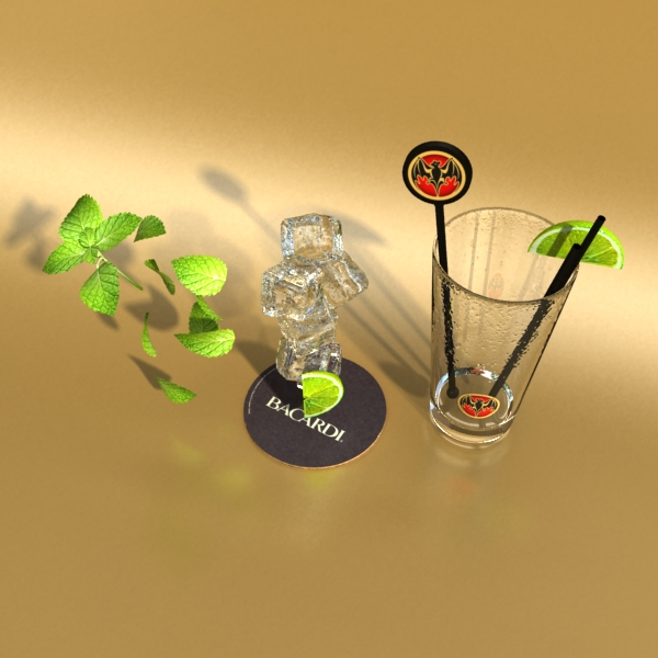 high detailed bacardi bottle, mojito and rum shot 3d model 3ds max fbx obj 138327