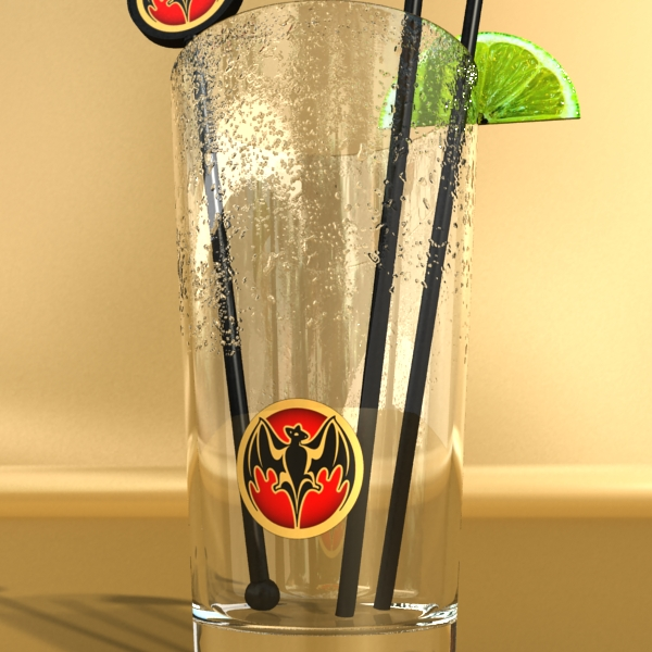 high detailed bacardi bottle, mojito and rum shot 3d model 3ds max fbx obj 138328