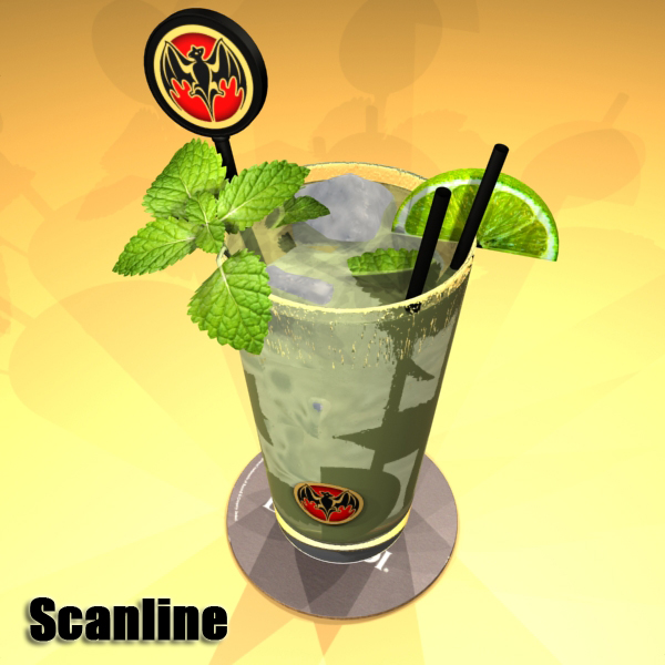 high detailed bacardi bottle, mojito and rum shot 3d model 3ds max fbx obj 138333