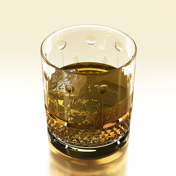 high detailed whisky cut glass and chivas coaster 3d model 3ds max fbx obj 139571