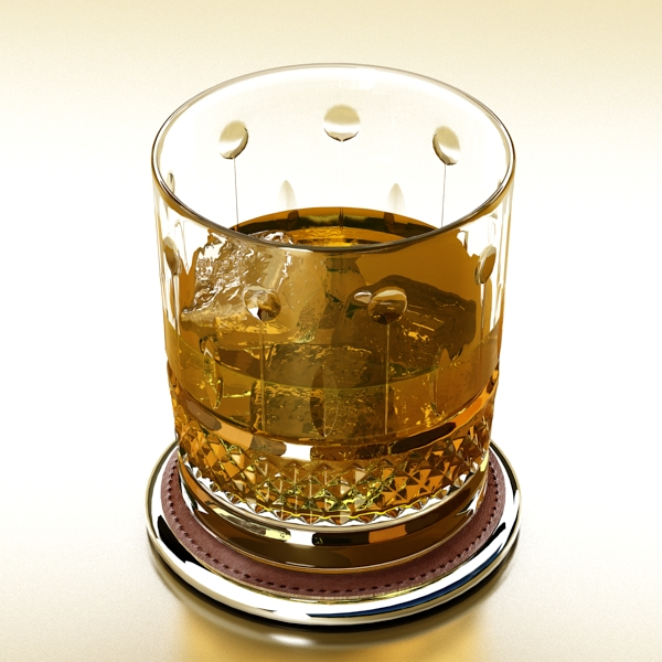 high detailed whisky cut glass and chivas coaster 3d model 3ds max fbx obj 139572