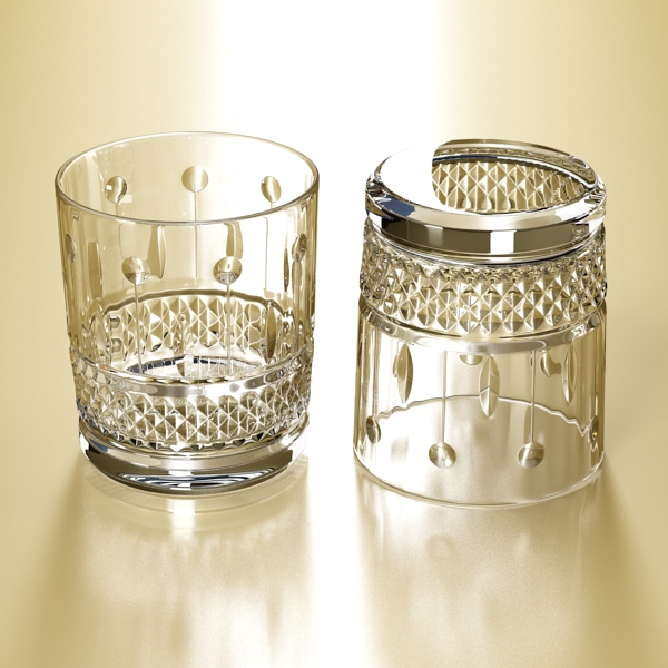 high detailed whisky cut glass and chivas coaster 3d model 3ds max fbx obj 139579