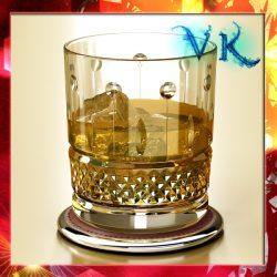 High Detailed Whisky Cut Glass and Chivas Coaster ( 350.94KB jpg by VKModels )
