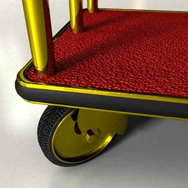 hotel luggage cart high detail realistic 3d model 129725