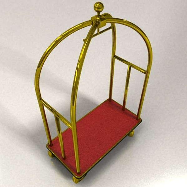 hotel luggage cart high detail realistic 3d model 129726
