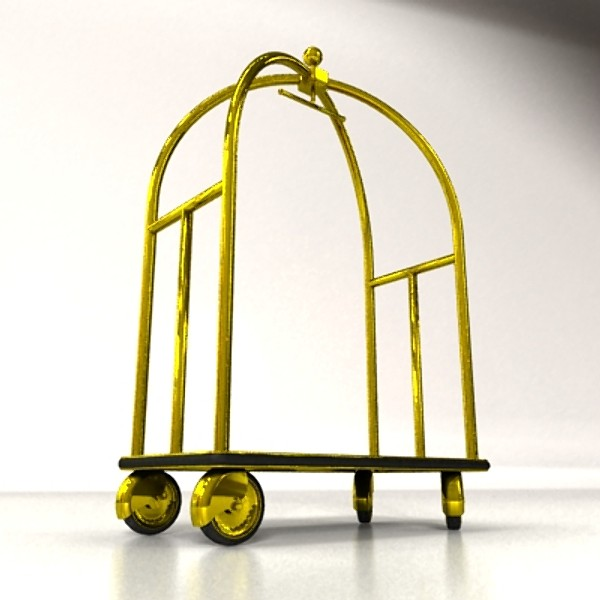 hotel luggage cart high detail realistic 3d model 129727