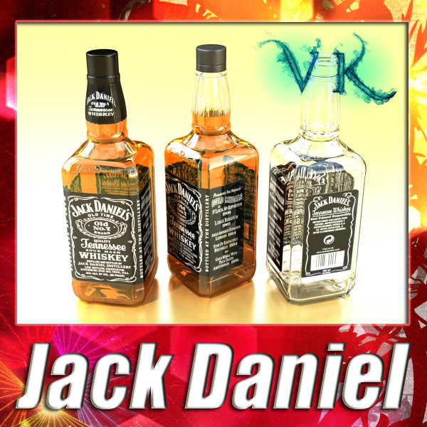 jack daniels bottle 3d model 3ds max fbx obj 135882
