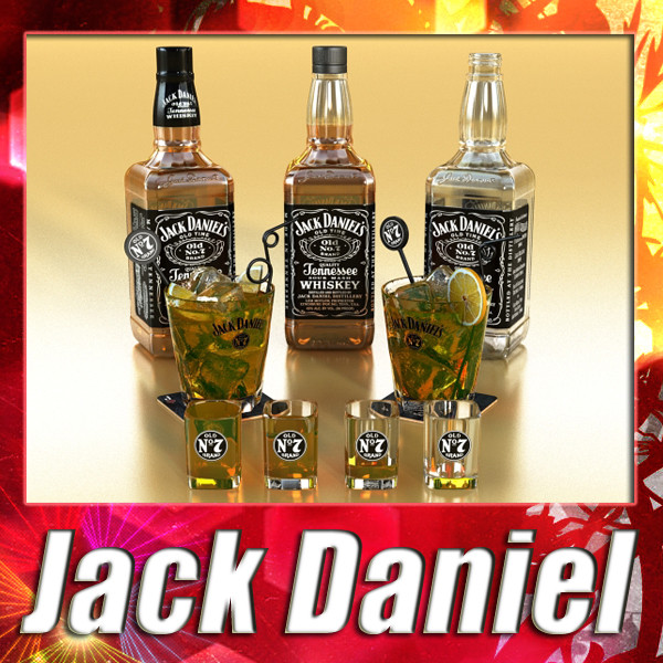 jack daniels collection 3d model 3ds max fbx obj 135928