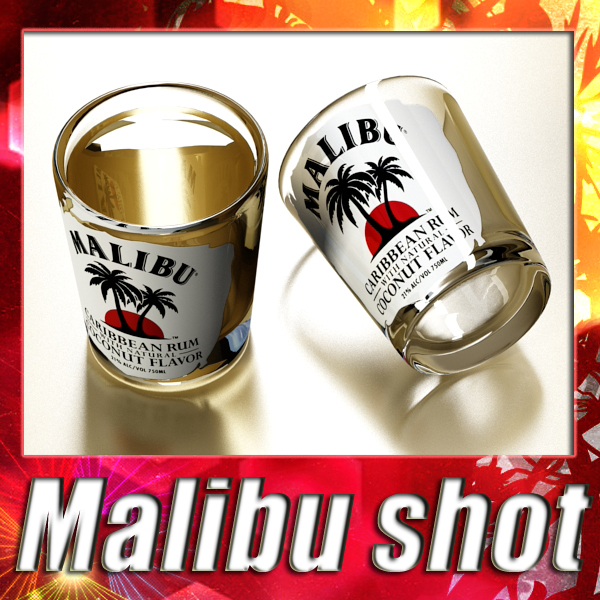malibu shot glass – high detailed 3d model 3ds max fbx obj 139217