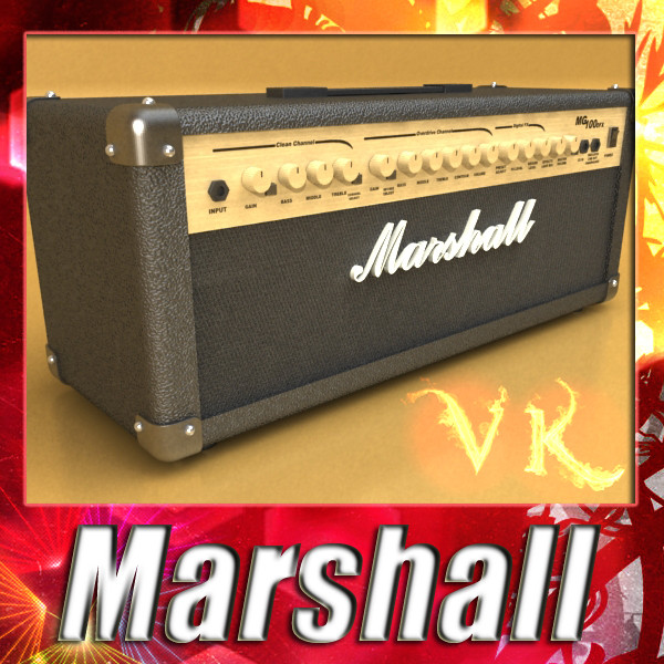 marshall amplifier mg series high detail 3d model 3ds max fbx obj 131063