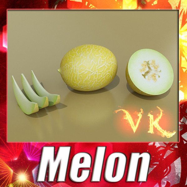 melon high res textures 3d model 3ds max fbx obj 133123