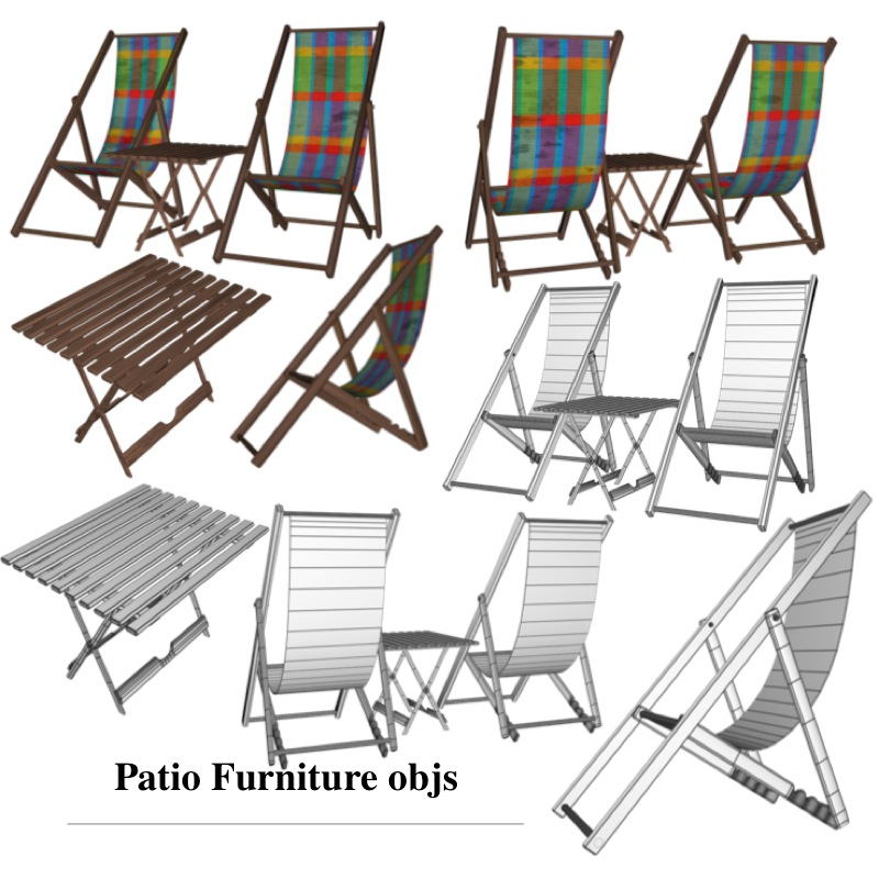 patio furniture 3d model obj 150372