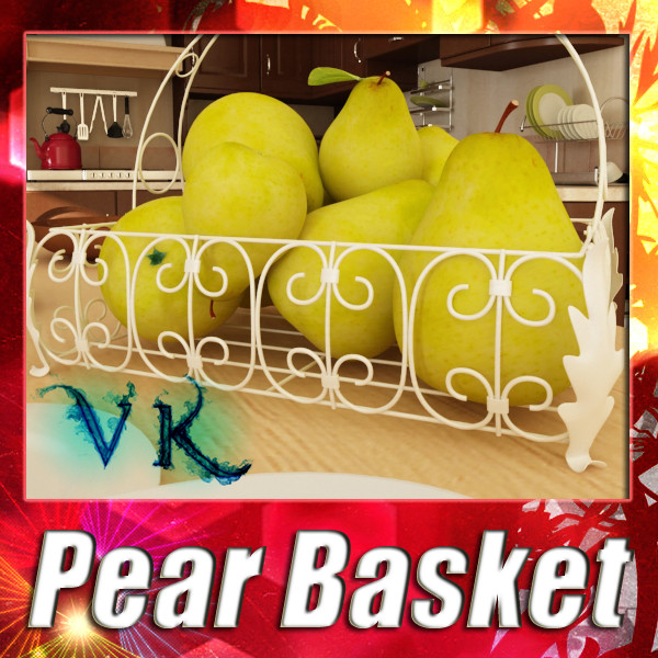 pears in metal basket 3d model max fbx obj 132887