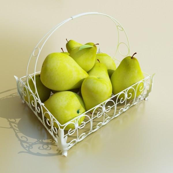 pears in metal basket 3d model max fbx obj 132891