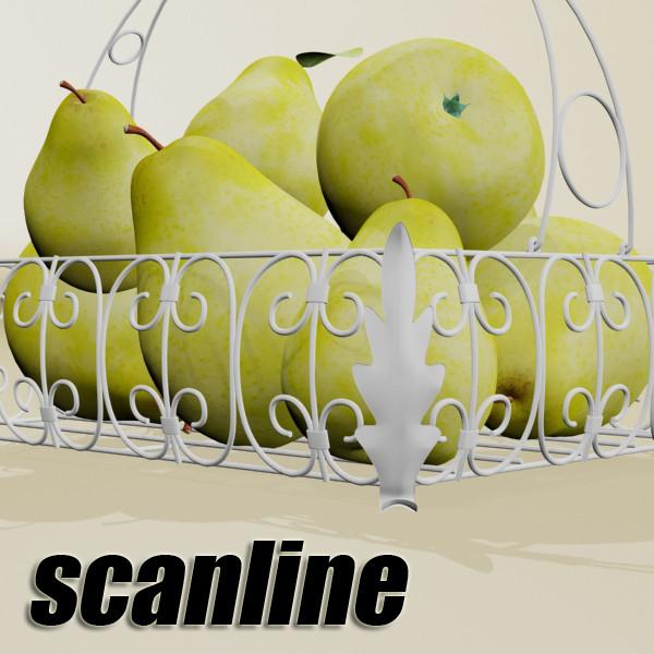 pears in metal basket 3d model max fbx obj 132893