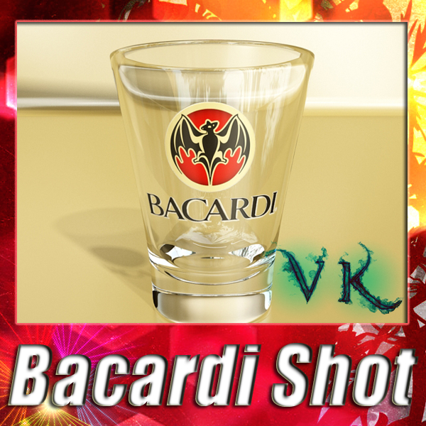 photoreal bacardi rum shot glass 3d model 3ds max fbx obj 138295