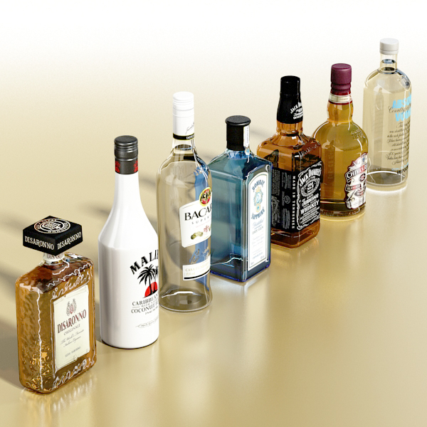 photorealistic and high detailed 7 liquor bottles. 3d model 3ds max fbx obj 140761
