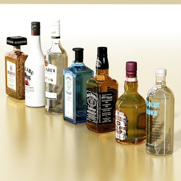 photorealistic and high detailed 7 liquor bottles. 3d model 3ds max fbx obj 140762