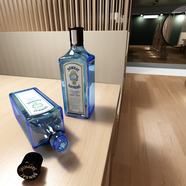 photorealistic and high detailed 7 liquor bottles. 3d model 3ds max fbx obj 140797