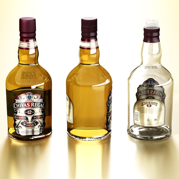 photorealistic and high detailed 7 liquor bottles. 3d model 3ds max fbx obj 140812